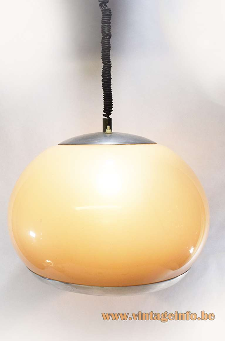 Stilux rise & fall acrylic pendant lamp made as a big globe in Perspex 1960s 1970s