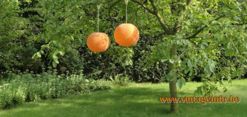 Sugar ball pendant lamps hanging in the walnut tree