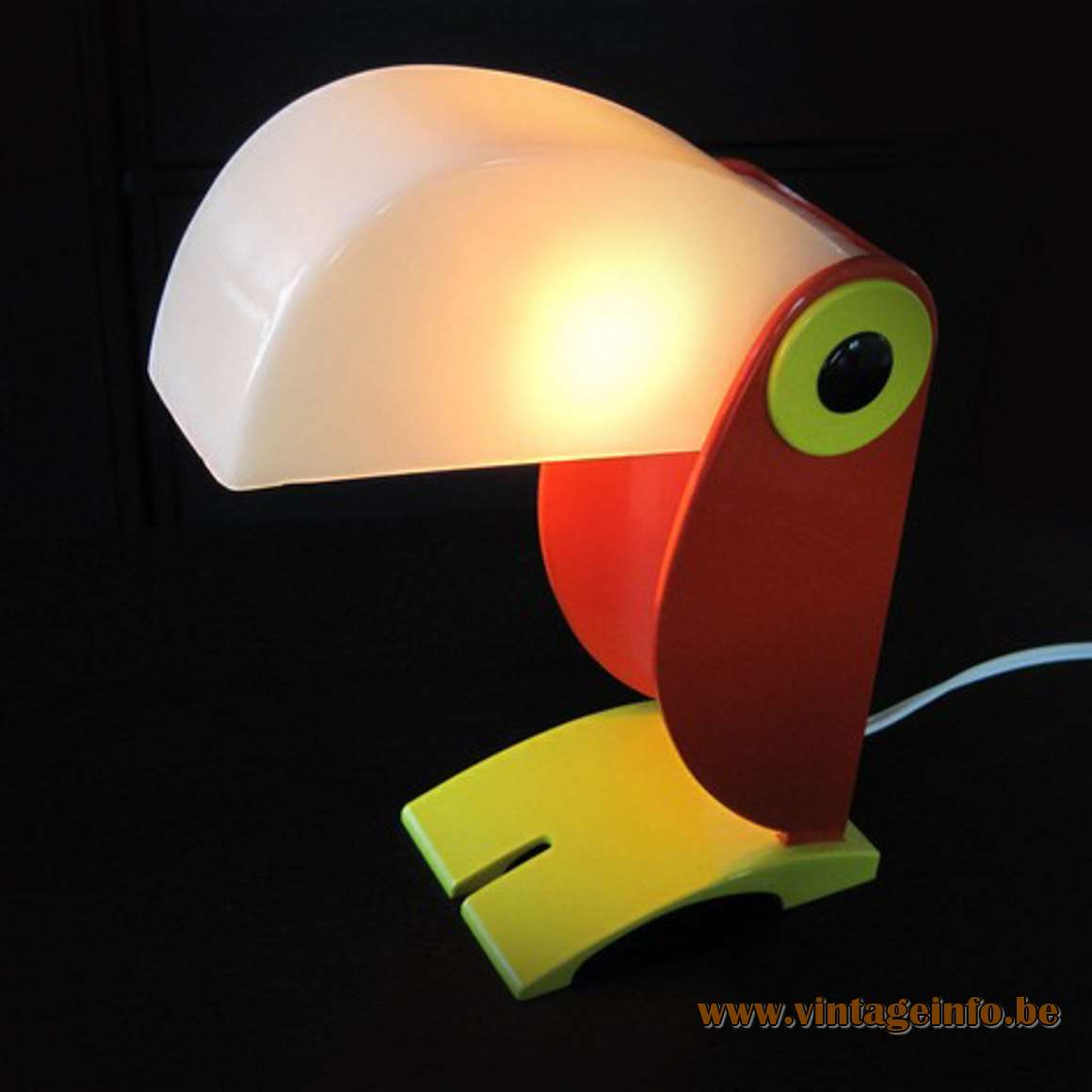 Old Timer Ferrari Toucan Table Lamp red yellow white plastic OTF