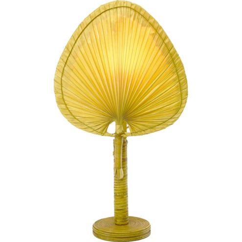 Uchiwa table lamp Ingo Maurer style round bamboo & wood base traditional Japanese fan 1970s 1980s MCM Mid-Century Modern