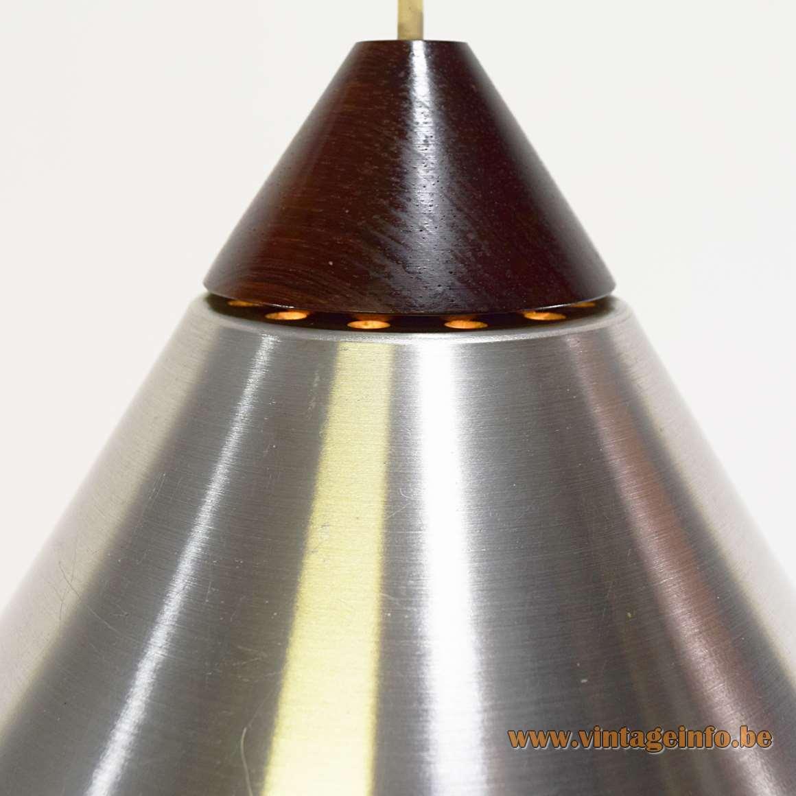 Uno & Osten Kristiansson pendant lamp conical brushed aluminium lampshade wood top Luxus Sweden 1960s