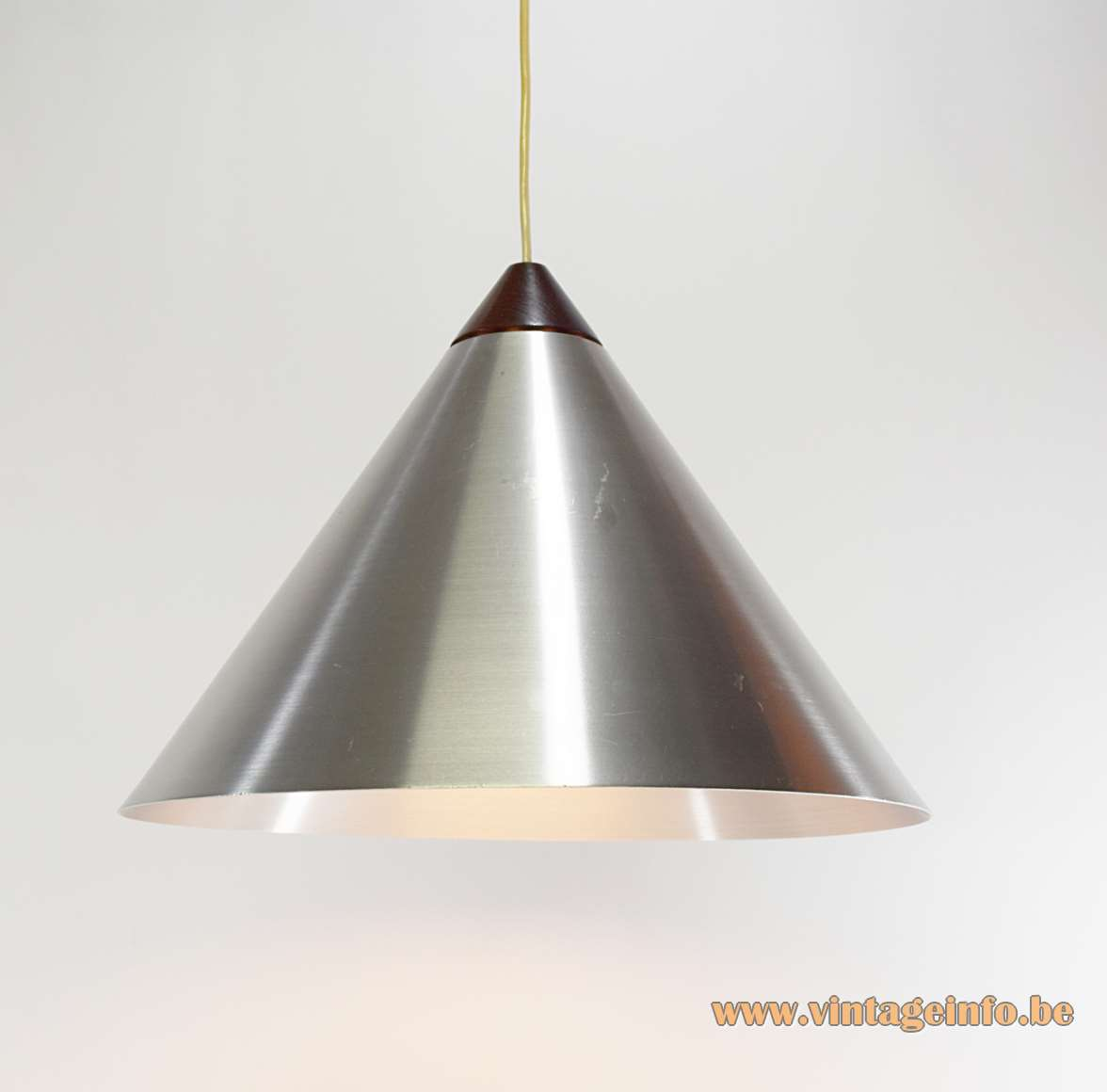 Luxus pendant lamp design: Uno & Östen Kristiansson brushed aluminium conical light teak 1960s MCM Mid-Century Modern E27 socket