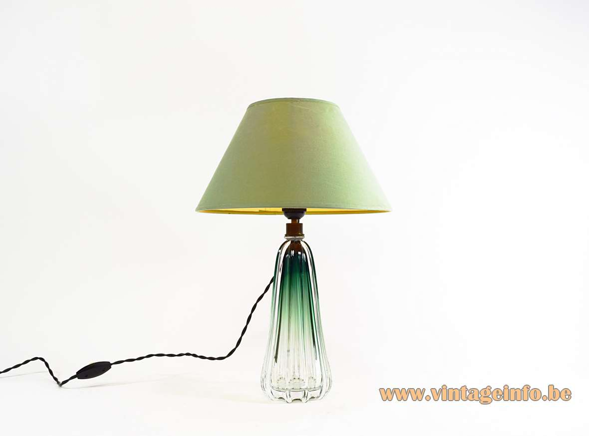 Val Saint Lambert Scintilla Table Lamp clear and green round ribbed glass 1950s 1960s Belgium MCM
