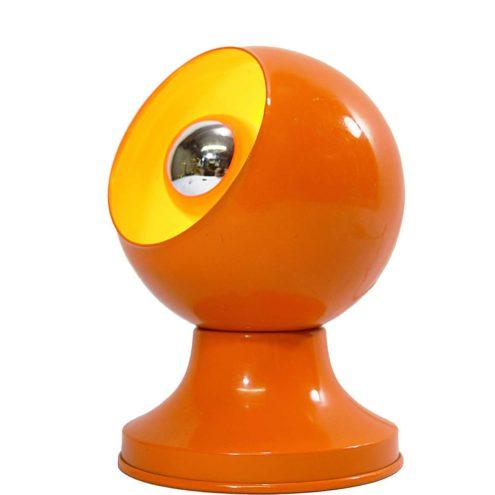 Magnetic table lamp Varec orange globe ball aluminium iron Chiusure Magnetiche 1960s 1970s MCM Mid-Century Modern eclips