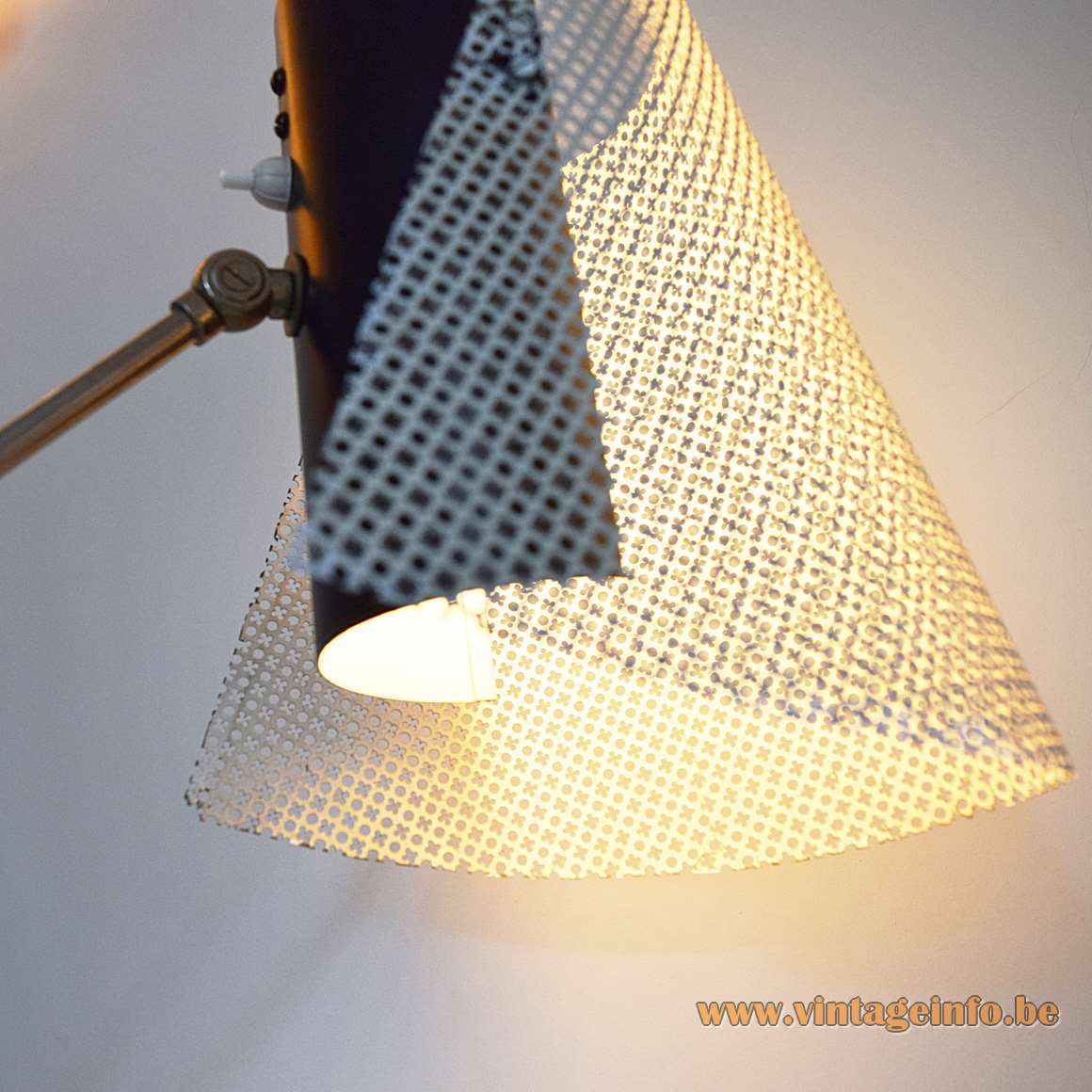 1950s metal floor lamp with perforated lampshade white black iron rods Artiforte Artimeta The Netherlands 1960s