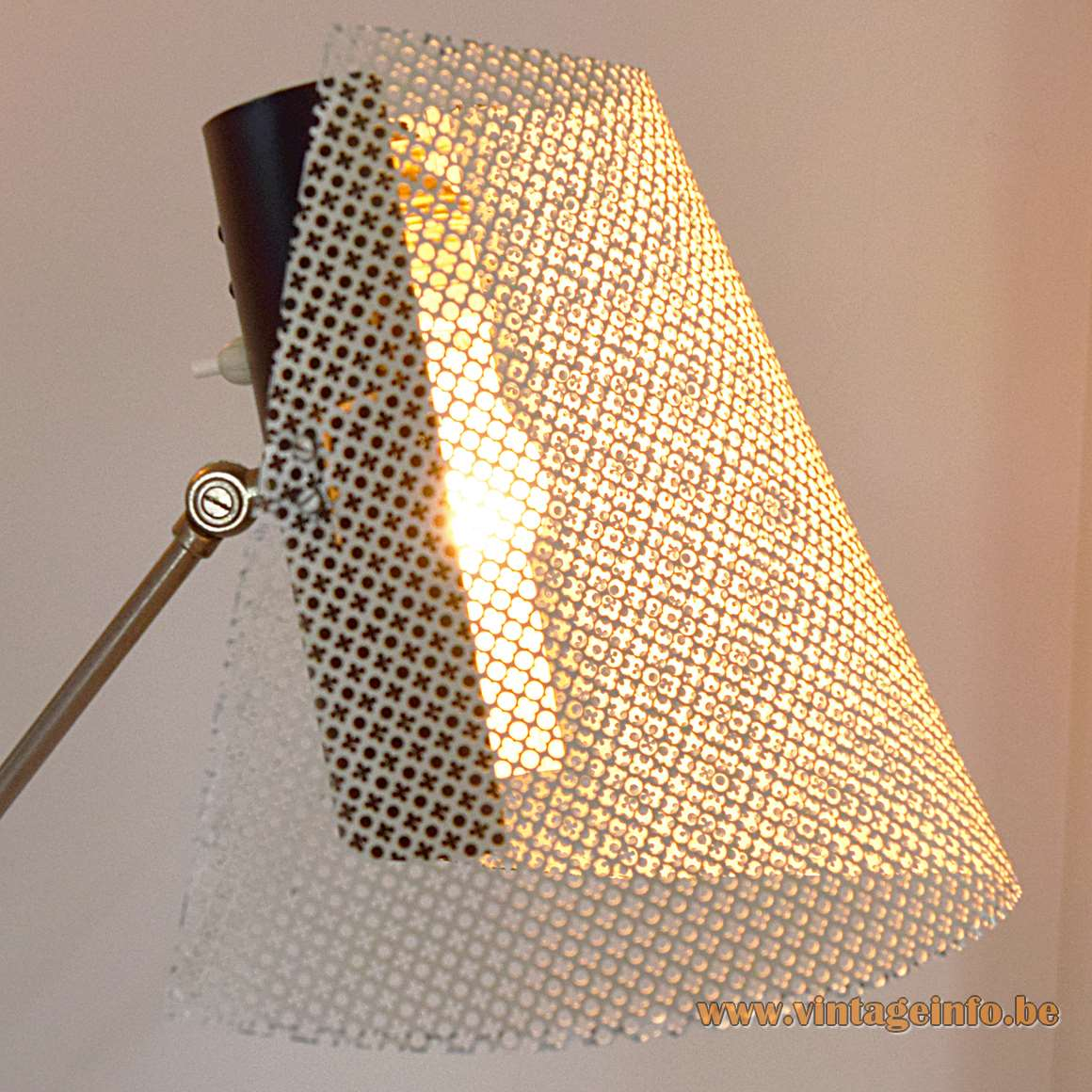 1950s Floor Lamp white and black painted metal iron perforated lampshade Artimeta Netherlands attributed mcm 1960s
