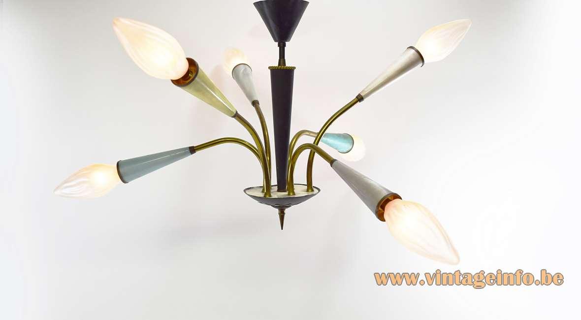 1950s Sputnik Chandelier 6 curved arms conical colourfull plastic lampholders brass arrow below 1960s MCM