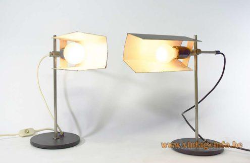 1960s East German Desk Lamps VEB Leuchtenbau Lengefeld Wittig und Schwabe black geometric lampshades round base