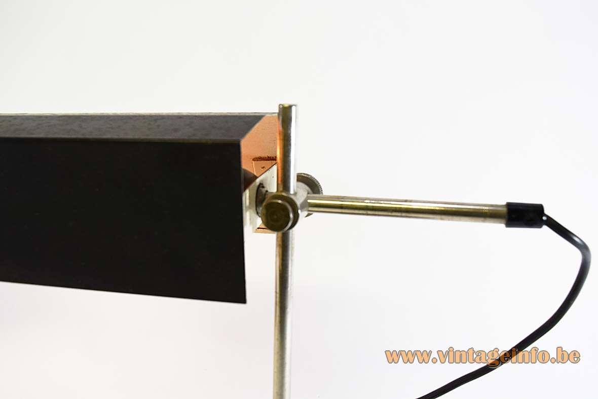 1960s East German desk lamps round base chrome rods black wrinkle paint lampshade VEB Leuchtenbau GDR