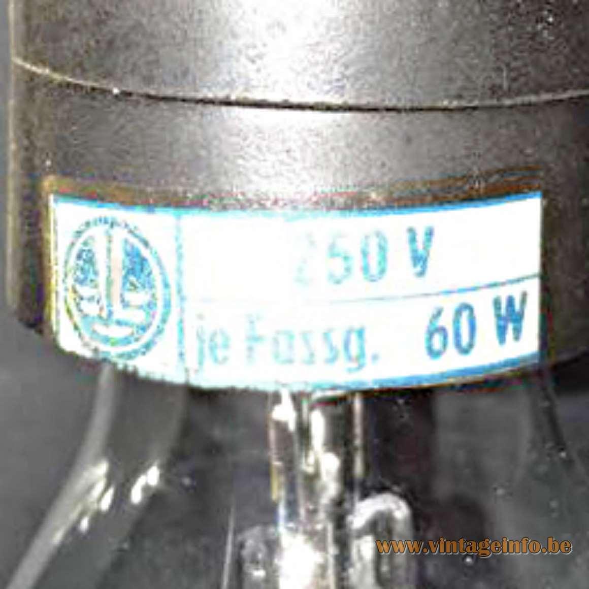 1960s East German Desk Lamps VEB Leuchtenbau Lengefeld Wittig und Schwabe socket label