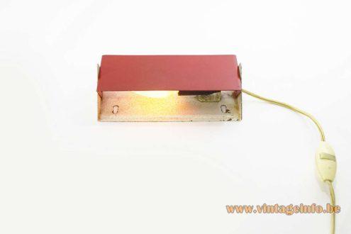 Rectangular wall lamp white & red metal iron E14 socket ANVIA Evolux Raak Massive 1960s 1970s MCM Mid-Century Modern
