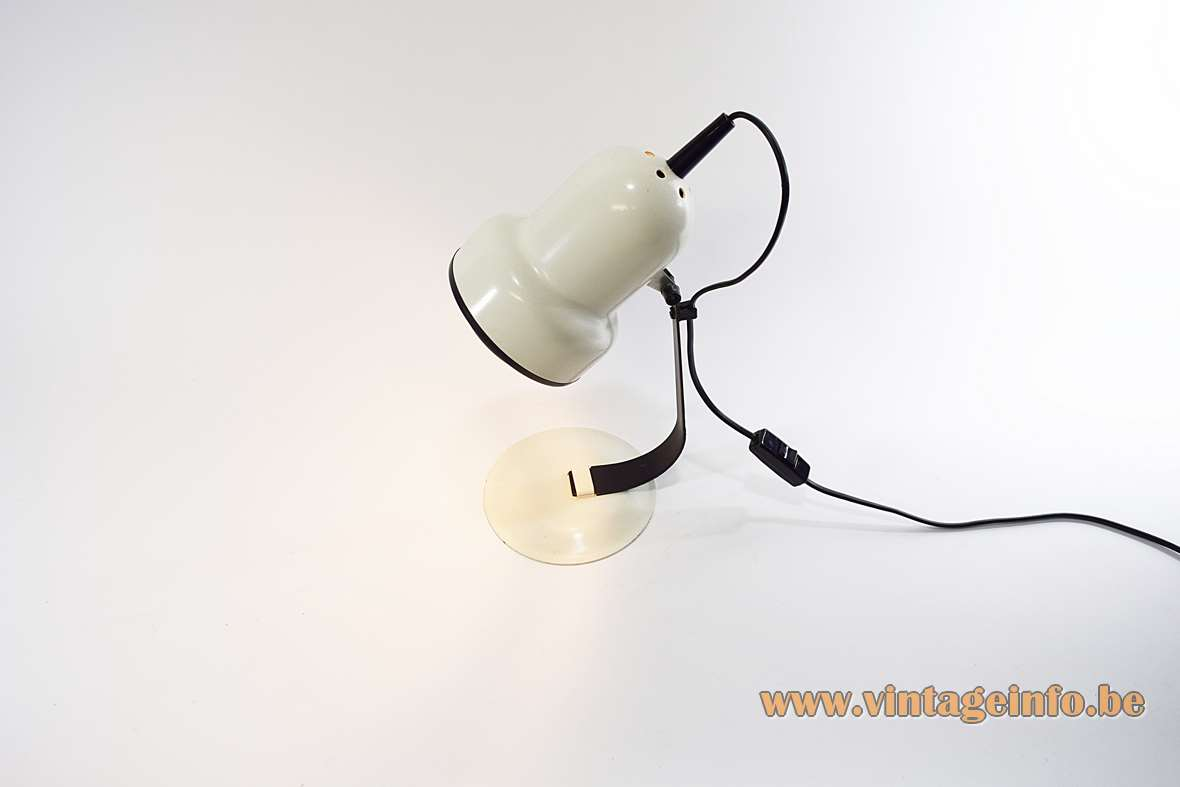 1970s Black & White Desk Lamp round flat base curved flat rod round perforated lampshade iron