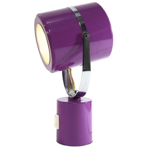 1970s Elma cylinder table lamp in purple tubes with a chrome bar and ring E14 socket