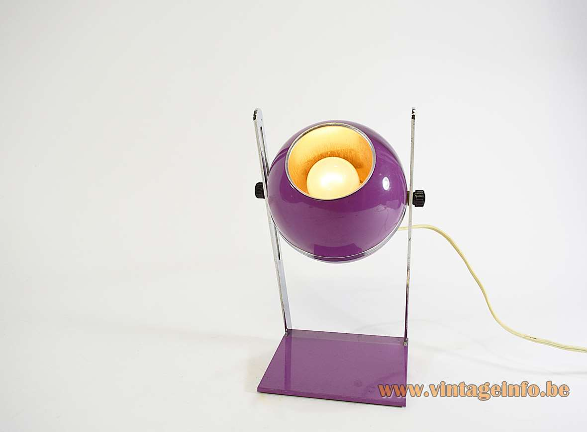 1970s Purple Aluminium Globe Table Lamp chrome rectangular base adjustable Elma Yugoslavia Slovenia MCM