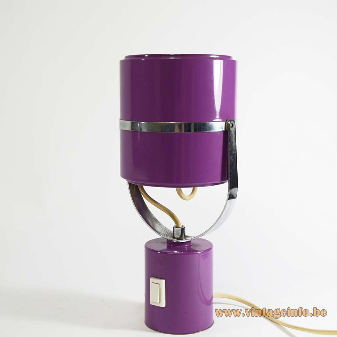 1970s Elma cylinder table lamp adjustable purple tubes chrome bar & ring aluminium reflector E14 socket Slovenia
