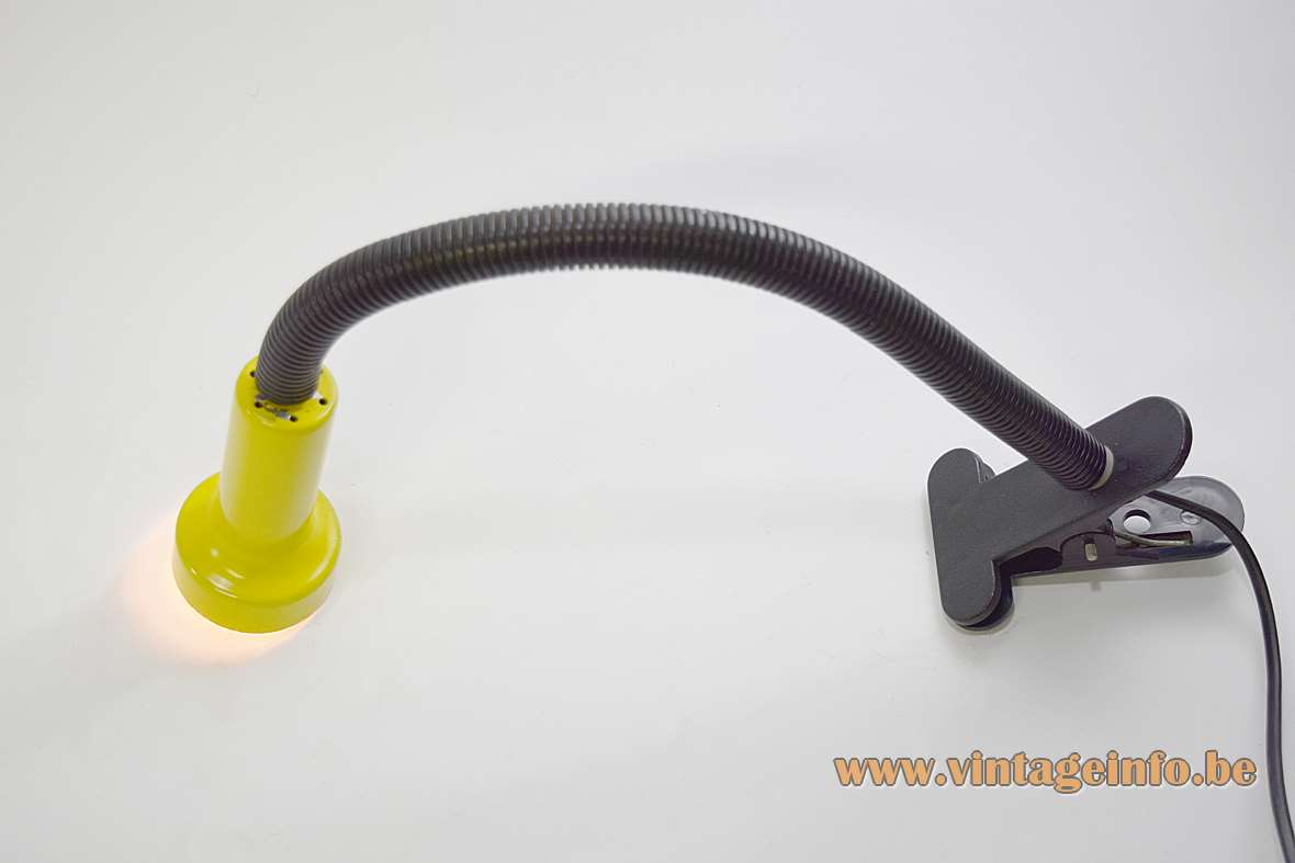 1970s Clamp Gooseneck Spotlight black yellow metal and plastic adjustable 1960s Vrieland Design Massive MCM
