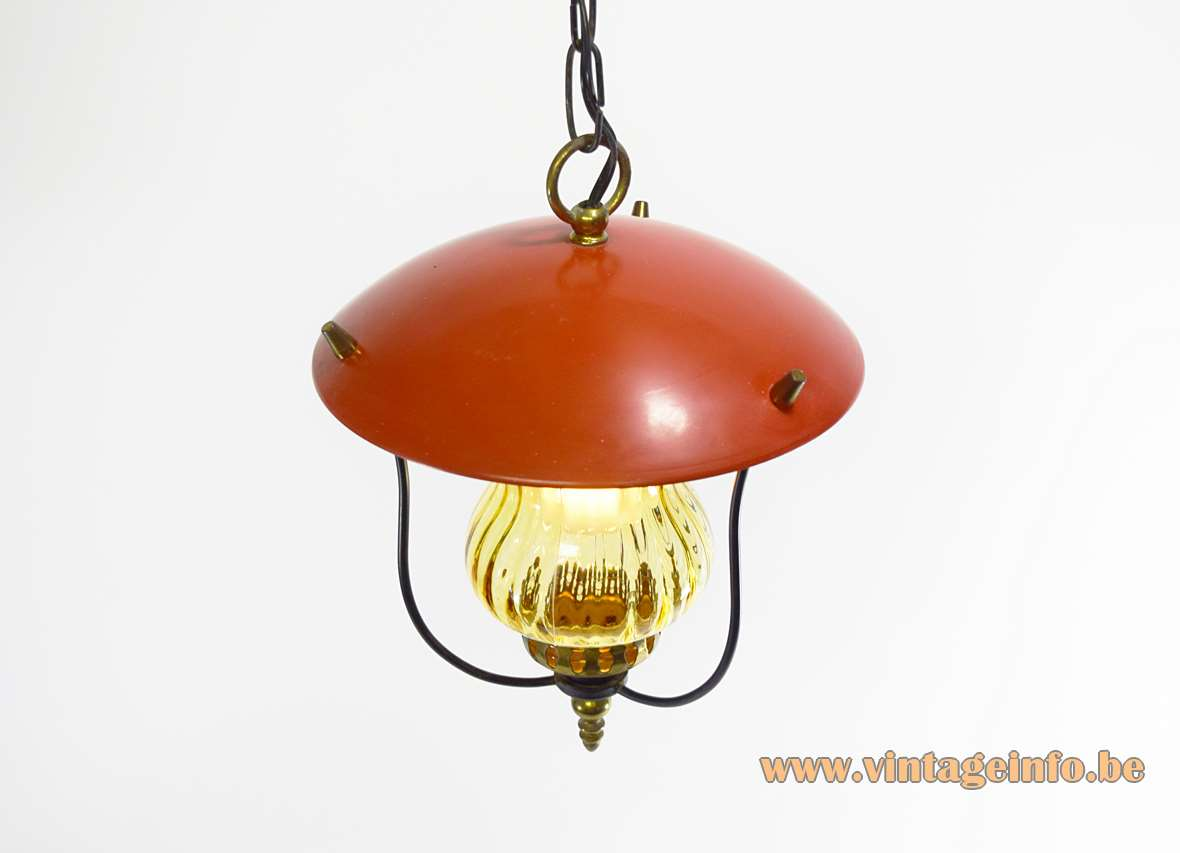 1970s lantern pendant lamp with a red lampshade amber glass and brass E27 socket 1960s