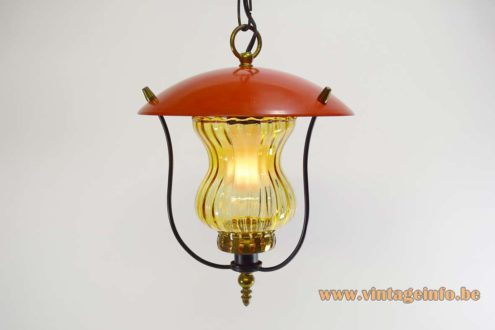 1970s Lantern Pendant Lamp red round lampshade amber glass brass ornamental screws and decoration