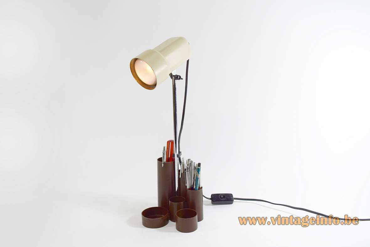 1970s pen tray desk lamp brown plastic base chrome rod cream lampshade Fischer Leuchten Germany 1980s