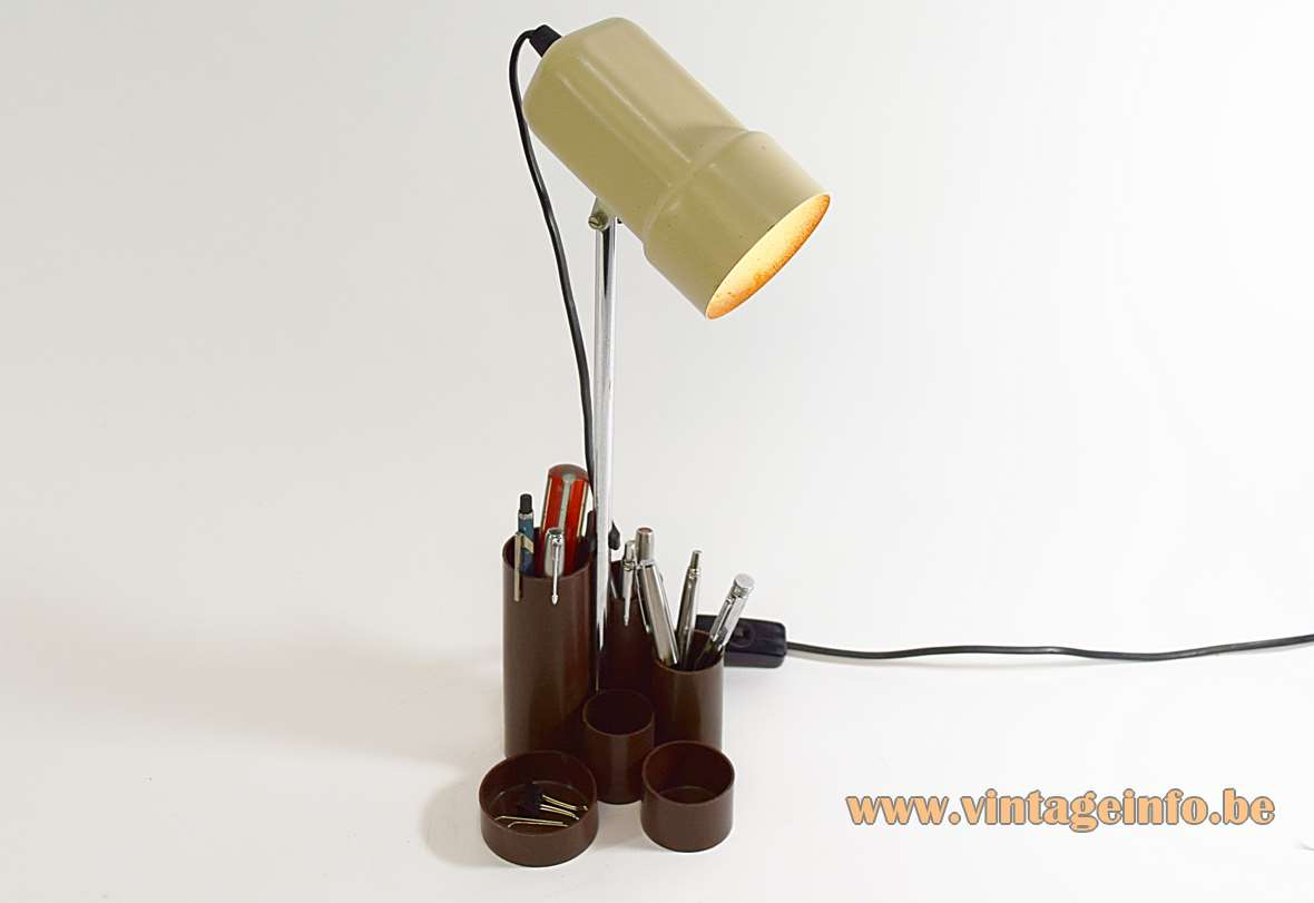 1970s Pen Tray Desk Lamp cream painted metal lampshade plastic tray chrome rod MCM