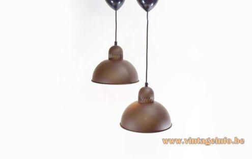 1970s Enameled Metal Pendant Lamps half round matt brown outside white enameled inside MCM