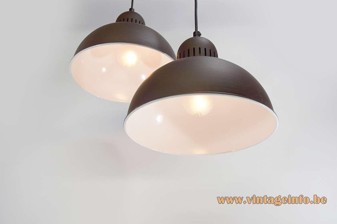 Enamelled metal pendant lamps half round matt brown outside white inside 1970s E27 socket MCM Mid-Century Modern