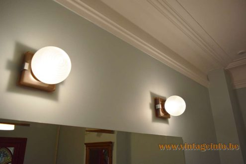 1970s Art Deco Style Wall Lamps Square Bakelite base frosted glass globe smoked acrylic chrome MCM