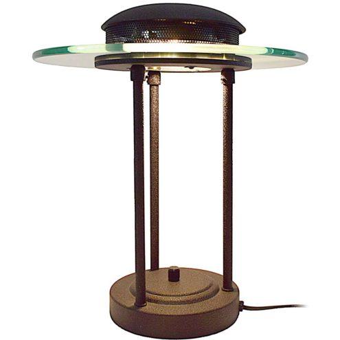 1980s Saturn bankers desk lamp round base 3 rods black wrinkle paint glass disc Robert Sonneman Kovacs