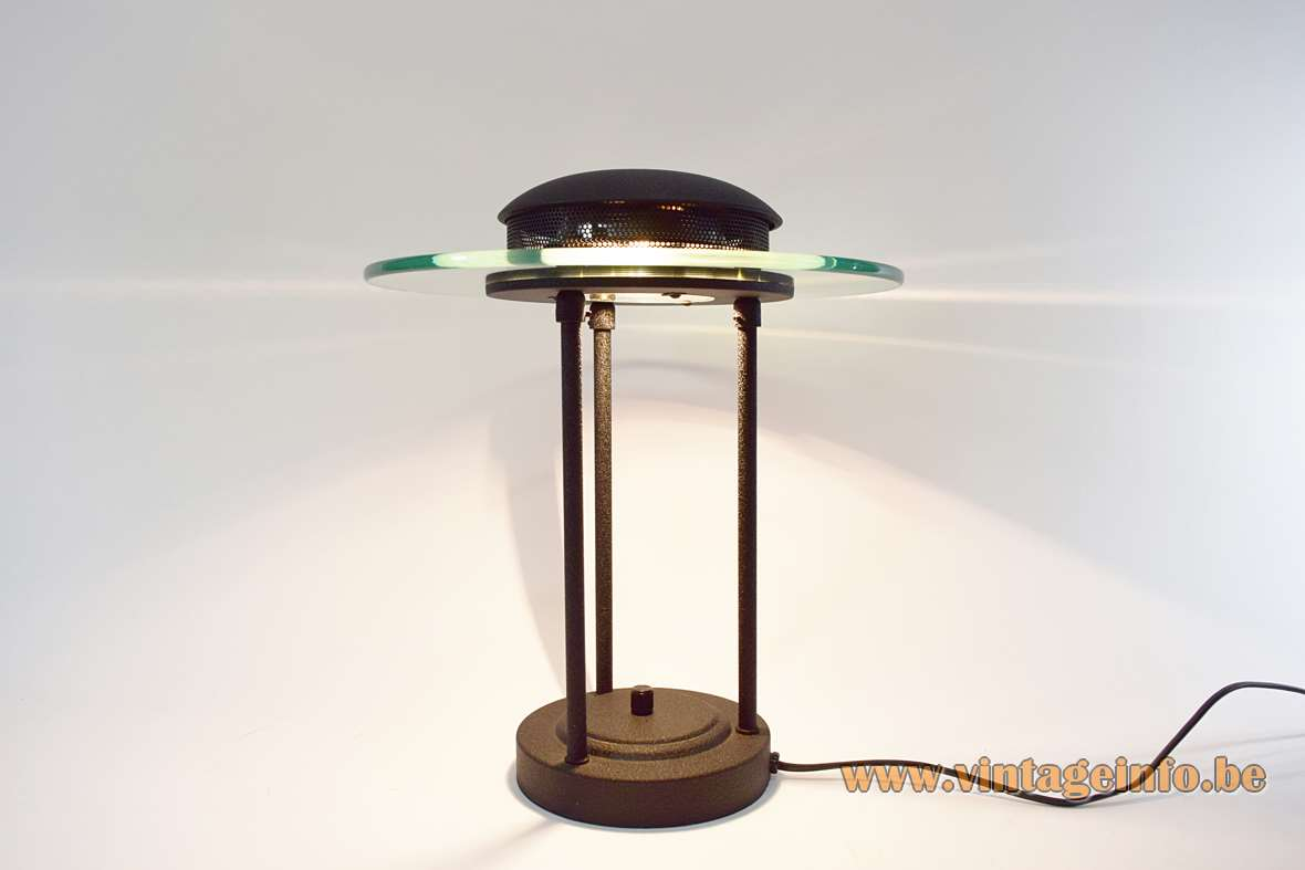 1980s Saturn bankers desk lamp round base 3 rods black wrinkle paint glass disc Robert Sonneman Kovacs