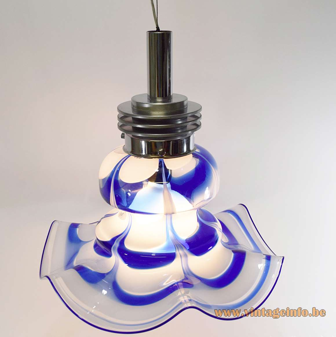 AV Mazzega Blue & White Glass Chandelier Murano 1970s 1980s chrome rings MCM Carlo Nason