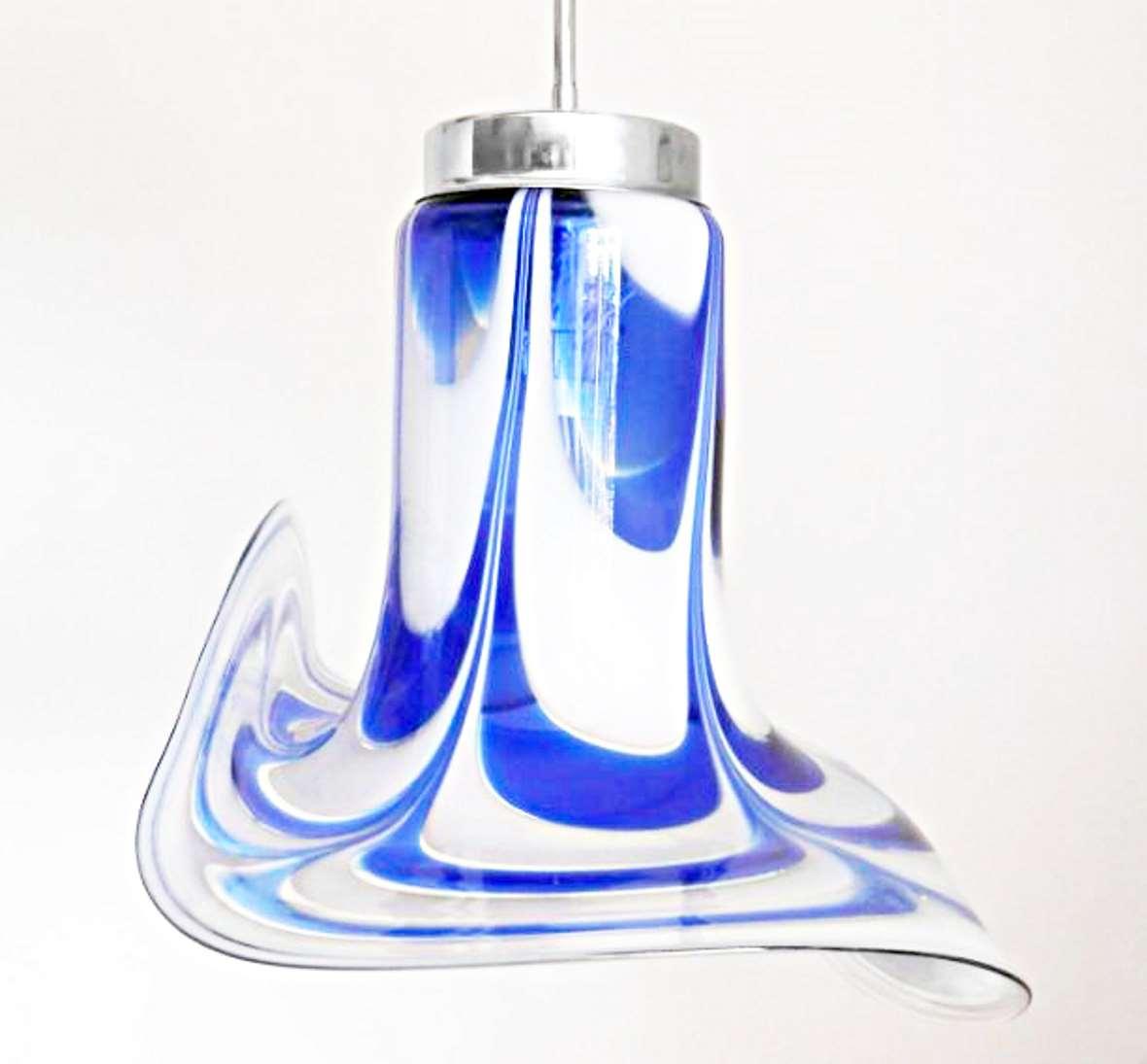AV Mazzega Blue & White Glass Chandelier Murano 1970s 1980s aluminium MCM Carlo Nason