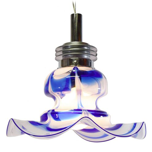 AV Mazzega blue & white glass chandelier design: Carlo Nason flower shaped Murano glass lampshade 1970s 1980s