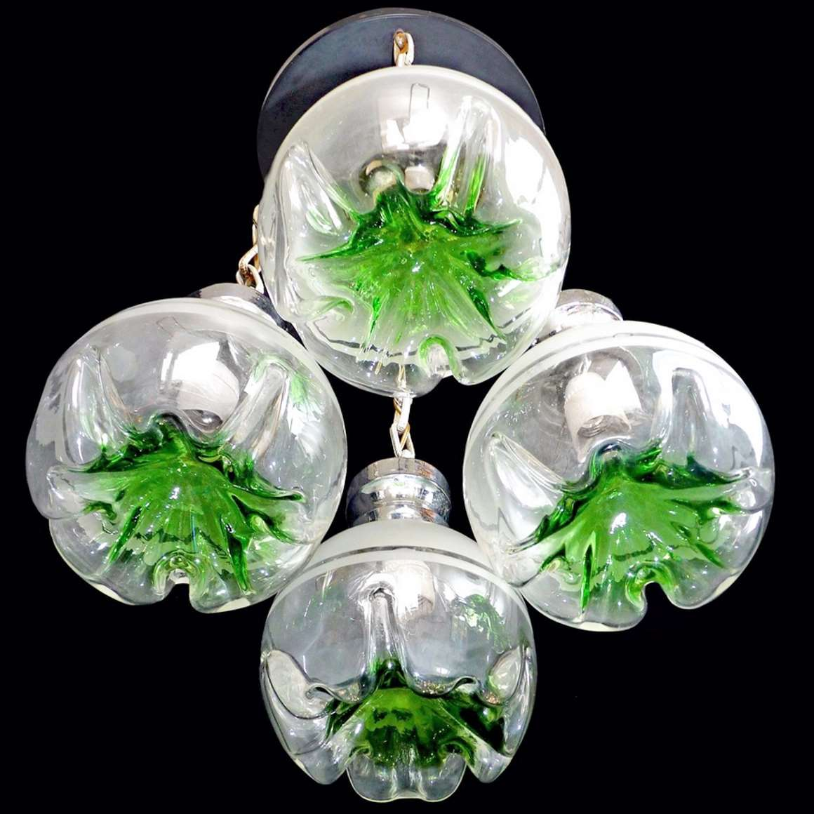 4 Green Glass Globes Chandelier