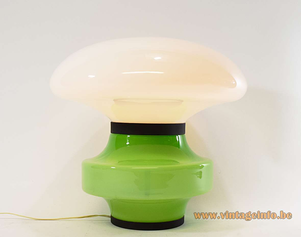 AV Mazzega green & white table lamp design: Carlo Nason Murano glass base mushroom lampshade 1960s 1970s