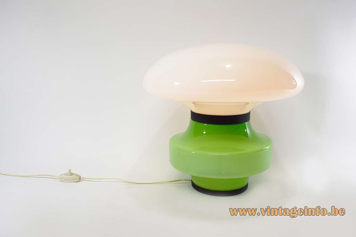 AV Mazzega table lamp mushroom green & white opal glass Murano Italy E27 socket 1960s 1970s MCM Mid-Century Modern