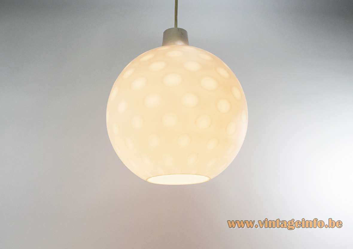 Aloys Ferdinand Gangkofner Como pendant lamp white opal glass globe lampshade with dots Peill + Putzler 1950s