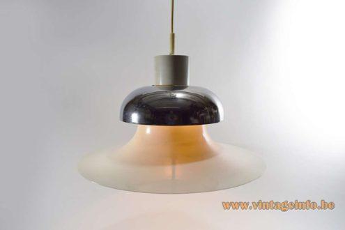 Andreas Hansen Mandalay Pendant Lamp UFO shaped round metal lampshade chrome cap Louis Poulsen 1970s MCM