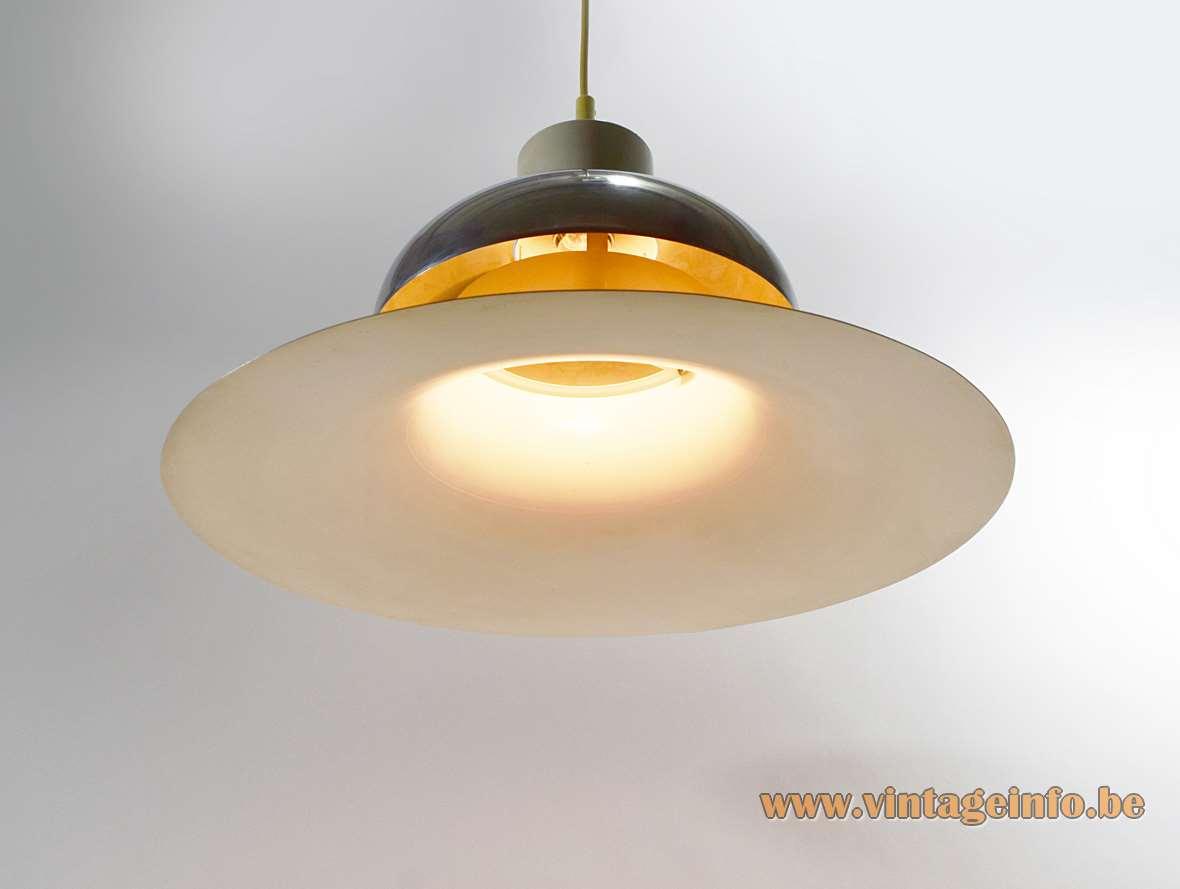 Andreas Hansen Mandalay pendant lamp white UFO lampshade chrome cap Louis Poulsen Denmark design 1970s
