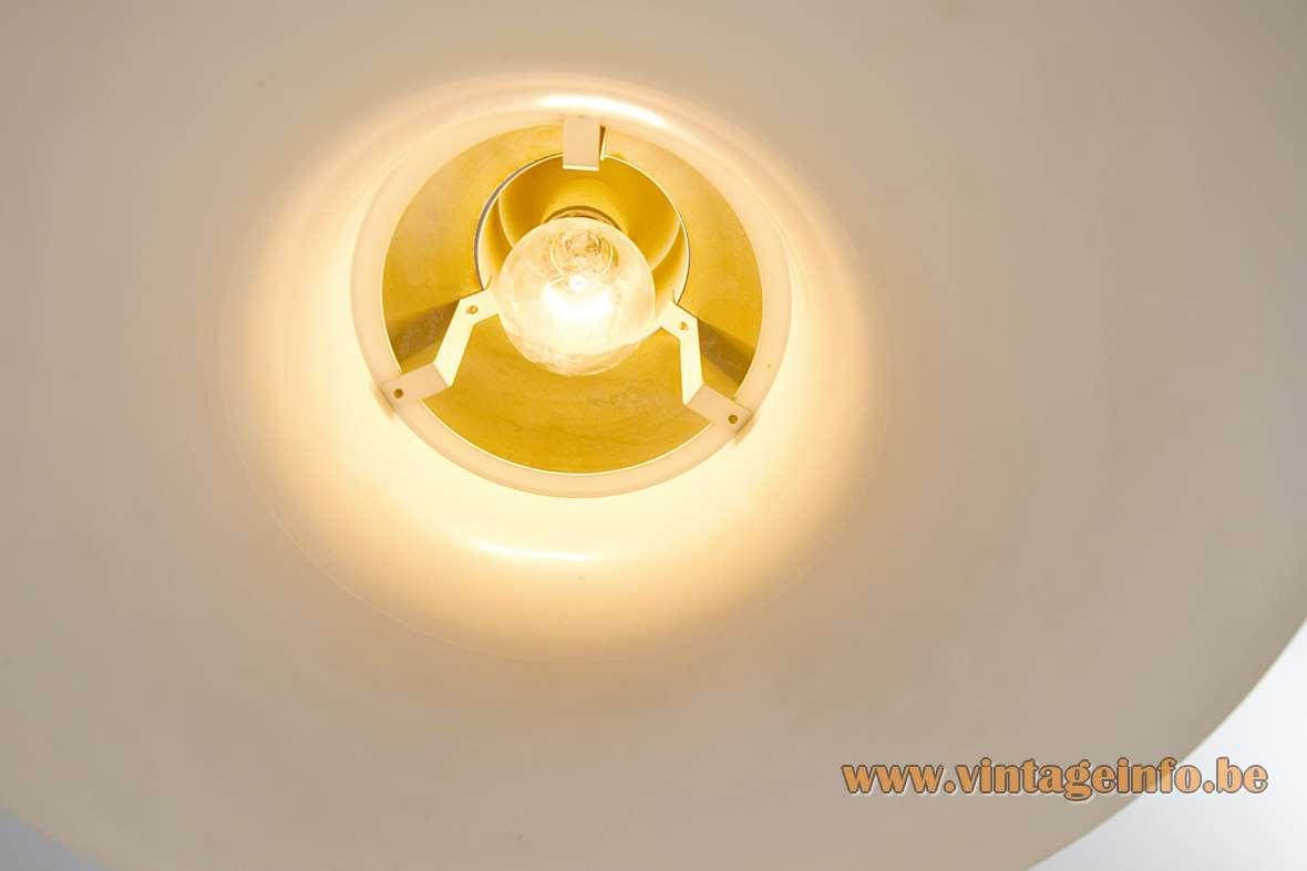 Andreas Hansen Mandalay pendant lamp white UFO lampshade inside view Louis Poulsen Denmark design 1970s