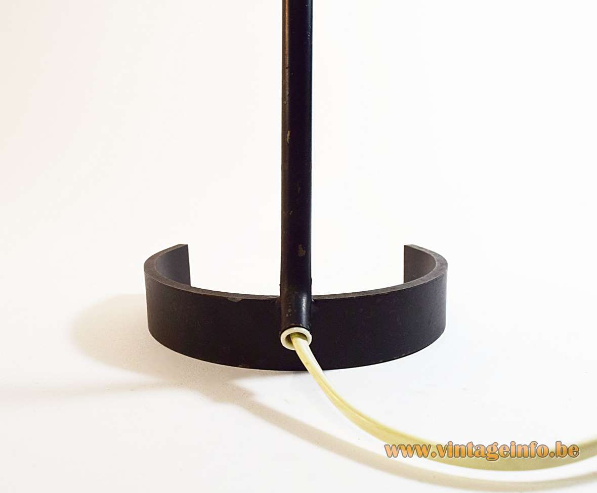ANVIA horseshoe desk lamp 6043 black iron base and rod conical aluminium lampshade 1950s 1960s