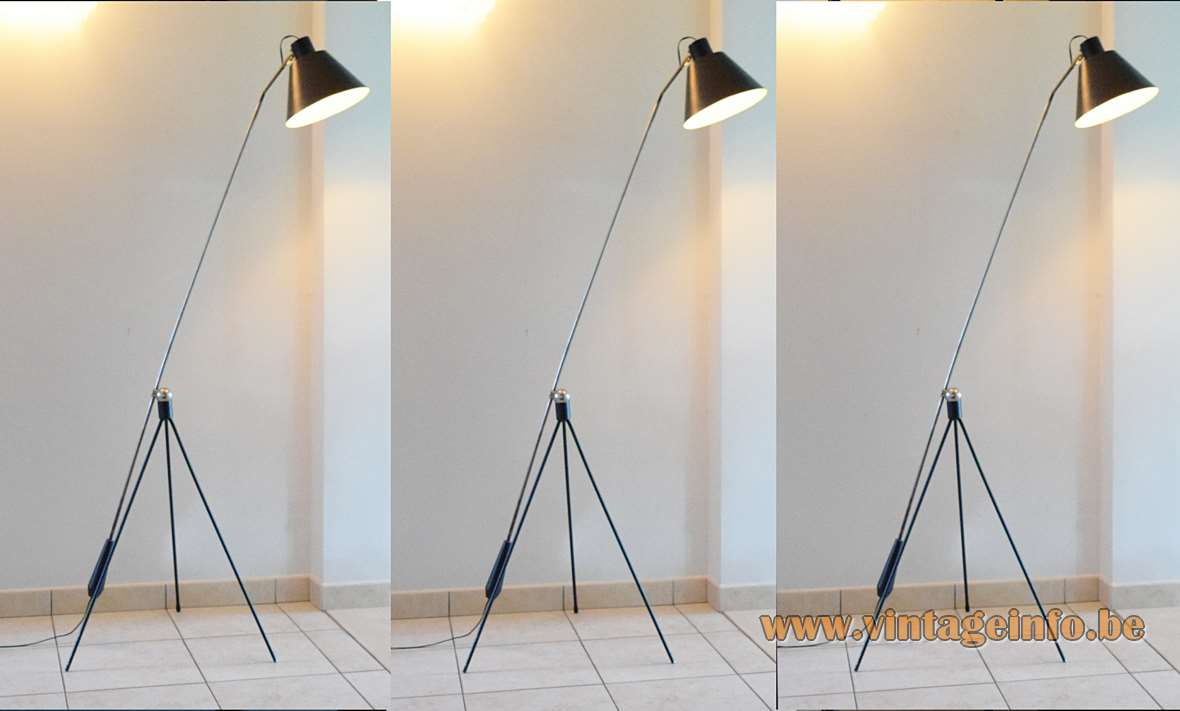 Artiforte Magneto Floor Lamp black tripod base magnetic chrome ball & rod aluminium lampshade 1950s 1960