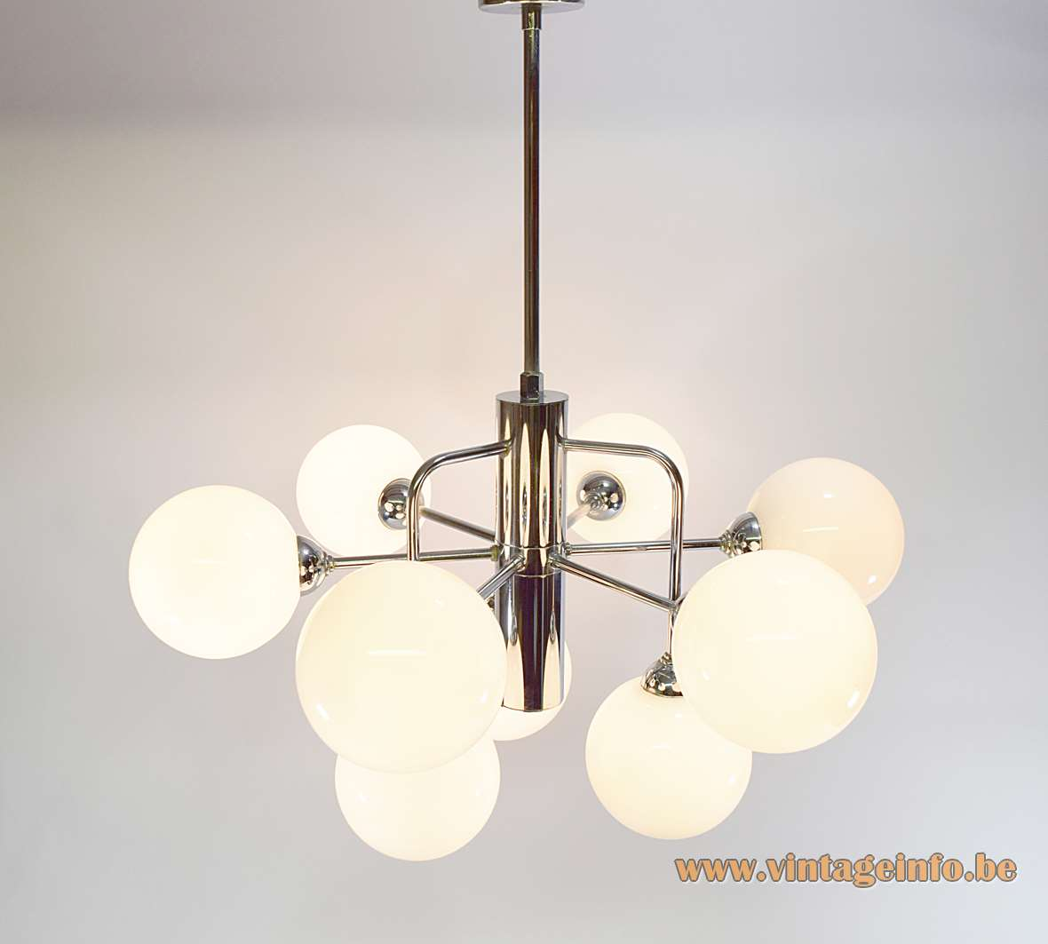 Atomic globes chandelier chrome curved rods 9 opal glass sputnik sphere balls 1960s 1970s Massive Belgium