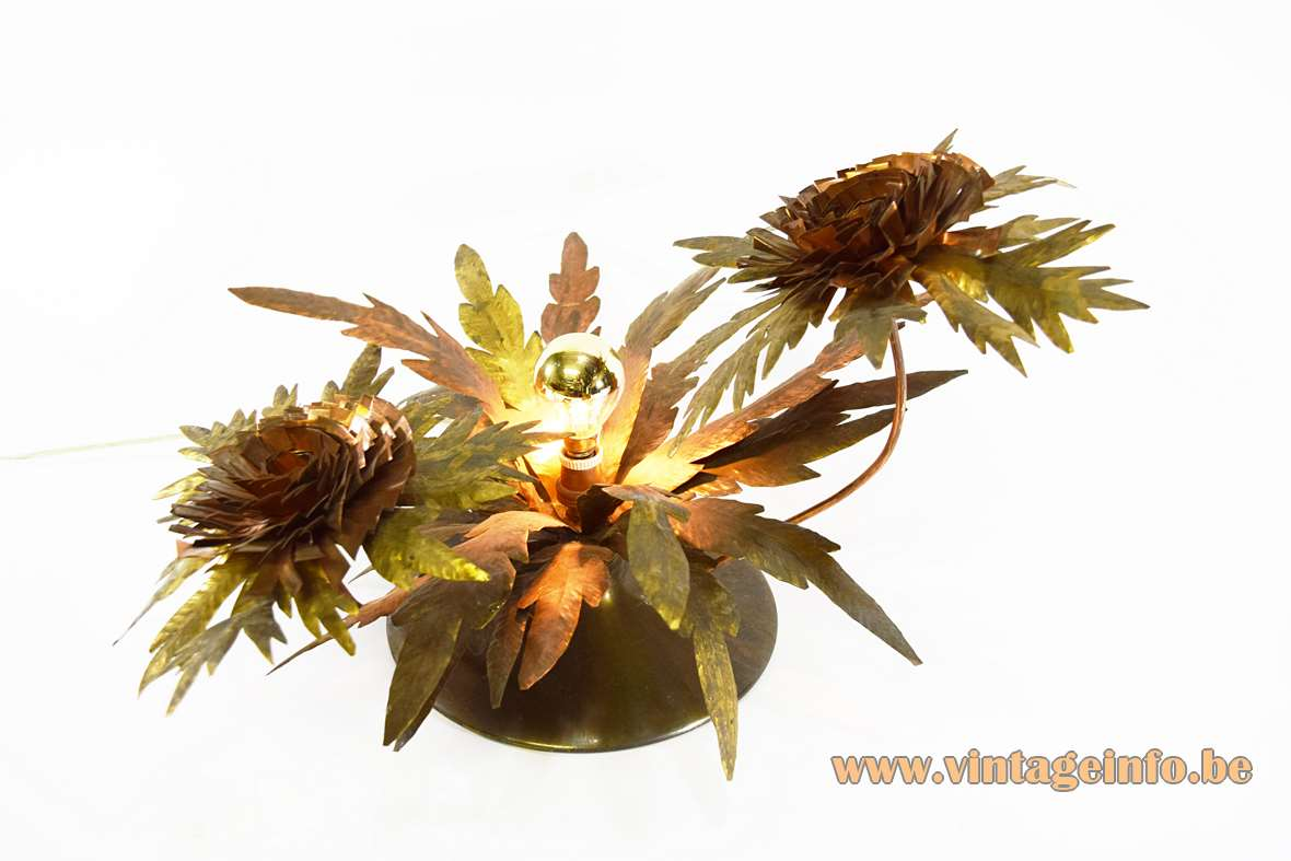 Brass flowers table lamp copper leaves 2 flowers round base cardboard bottom E14 socket 1950s 1960s MCM Mid-Century Modern