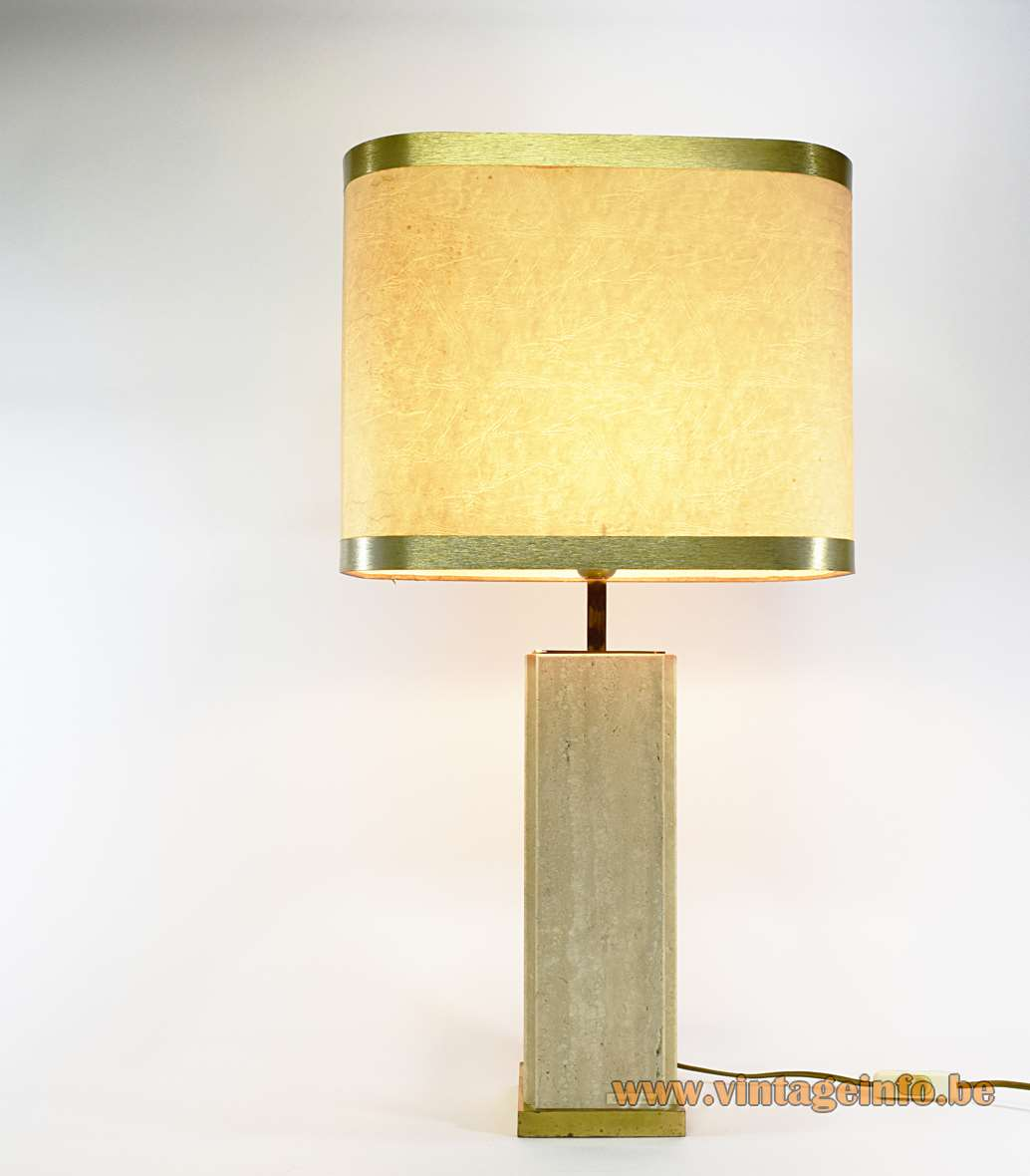 Travertine Table Lamp Limestone Camille Breesch Belgium brass paper lampshade rims 1960s 1970s MCM