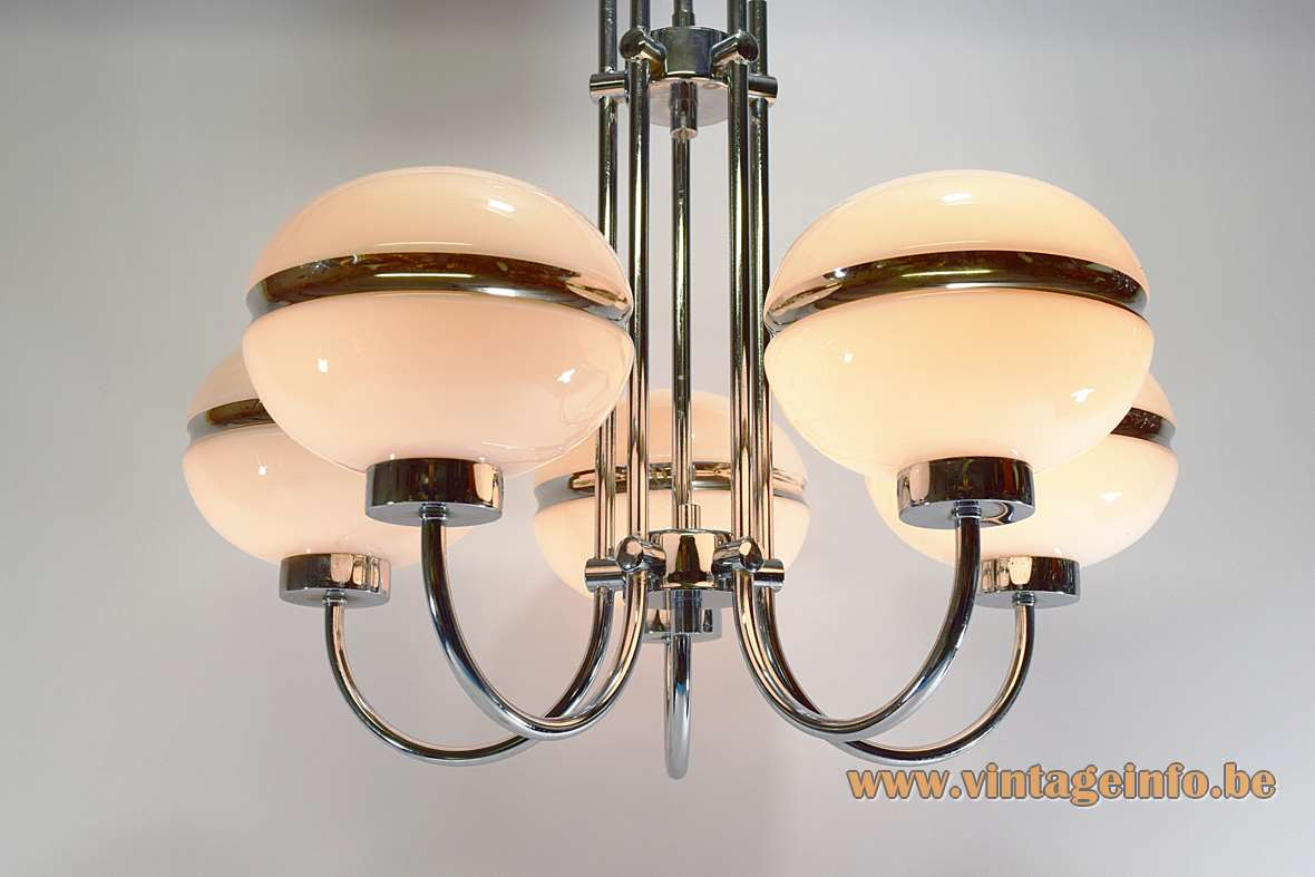 Chrome Opal Glass Globes Chandelier Brass opaque white 1960s 1970s Massive Belgium MCM