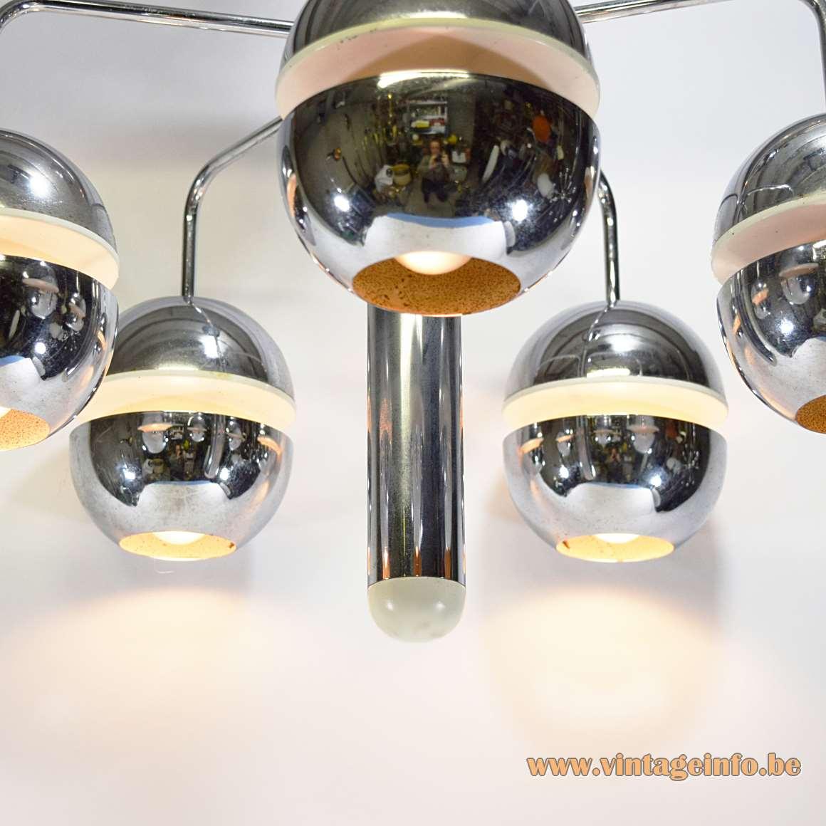 Chromed Globes Chandelier Klaus Hempel Kaiser Leuchten 1972 Massive Belgium 1970s MCM Raak