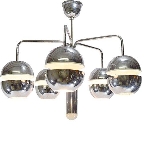 Chrome globes chandelier design: Klaus Hempel curved rods 5 open spheres Kaiser Leuchten Germany 1960s 1970s
