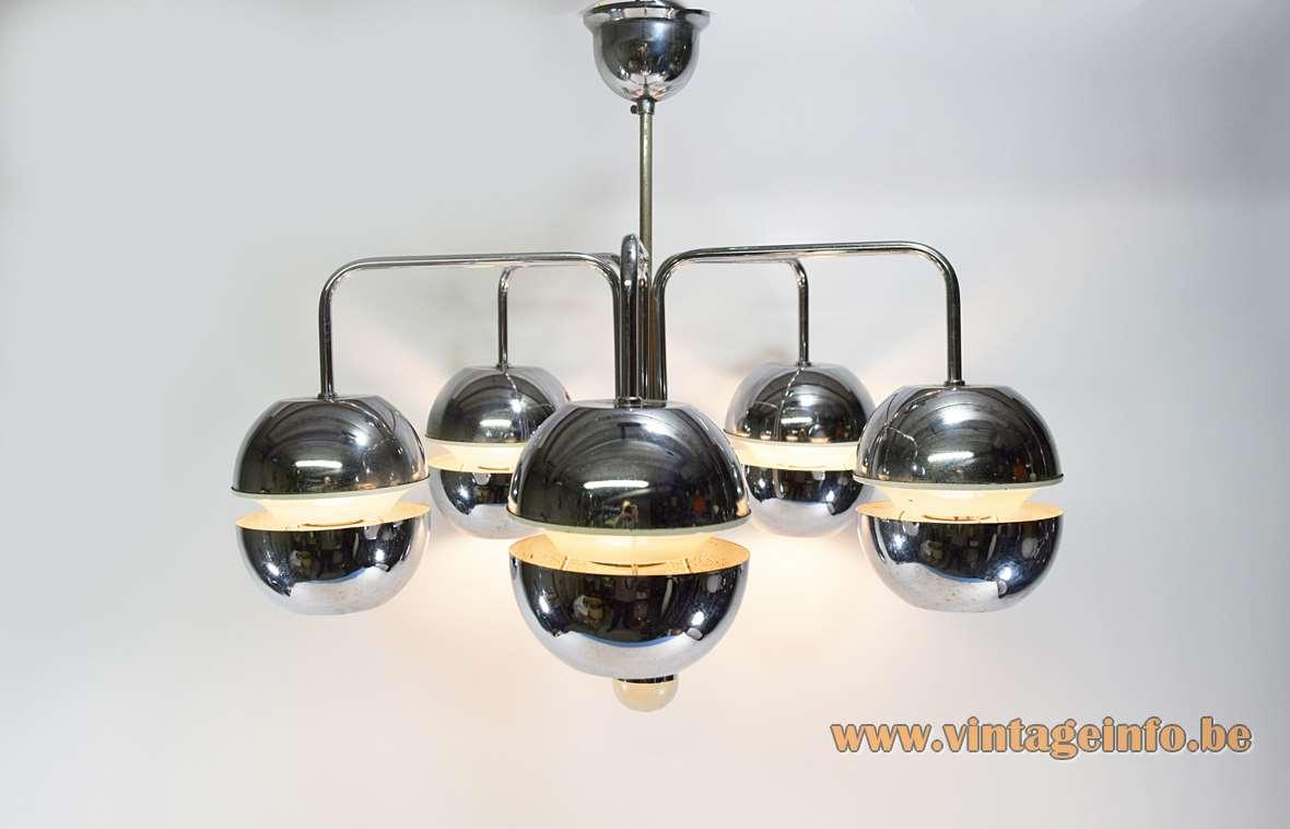 Chrome globes chandelier design: Klaus Hempel Kaiser Leuchten Massive Belgium Raak 1970s MCM Mid-Century Modern
