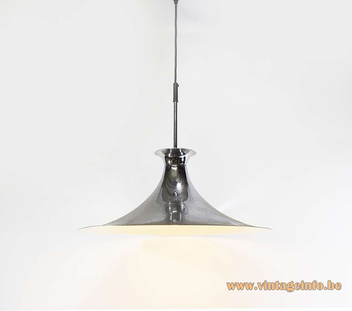 Chrome witch hat pendant lamp iron metal white painted inside 1960s 1970s MCM Massive porcelain socket