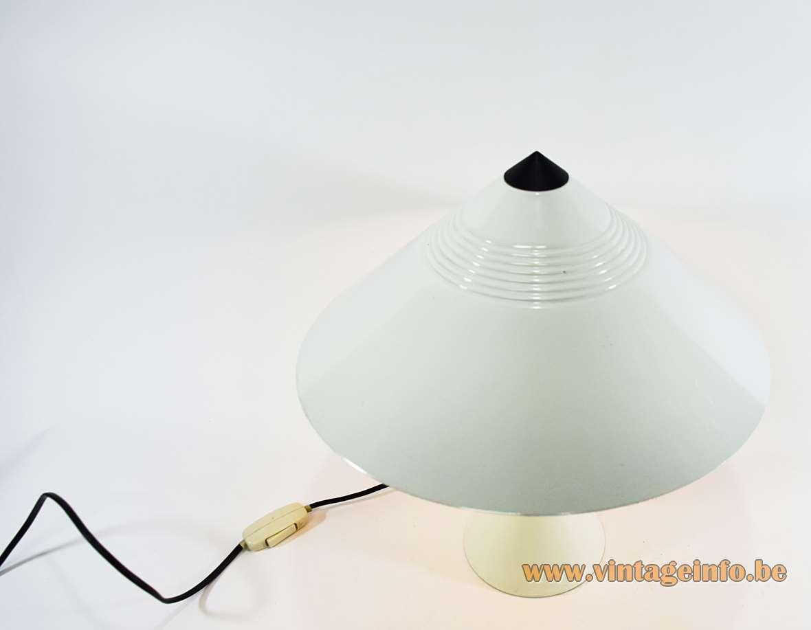 1980s white cone table lamp round metal base conical mushroom lampshade black plastic top Massive Belgium